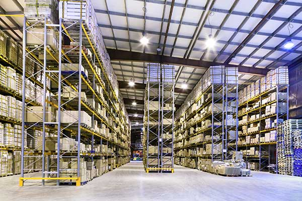 large warehouse with bright lights